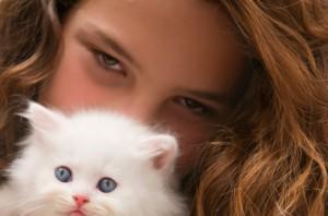 Girl with White Kitten